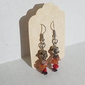 Handmade earrings w floor bead , gem chips J9
